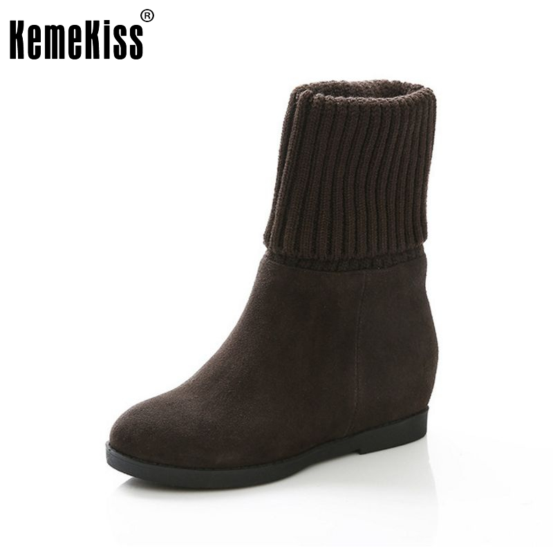 women real genuine leather height increasing over knee boots fashion long boot winter bota brand footwear shoes R7415 size 33-40 комплект белья amore mio великолепный 1 5 спальный наволочки 70x70 цвет голубой желтый 88538