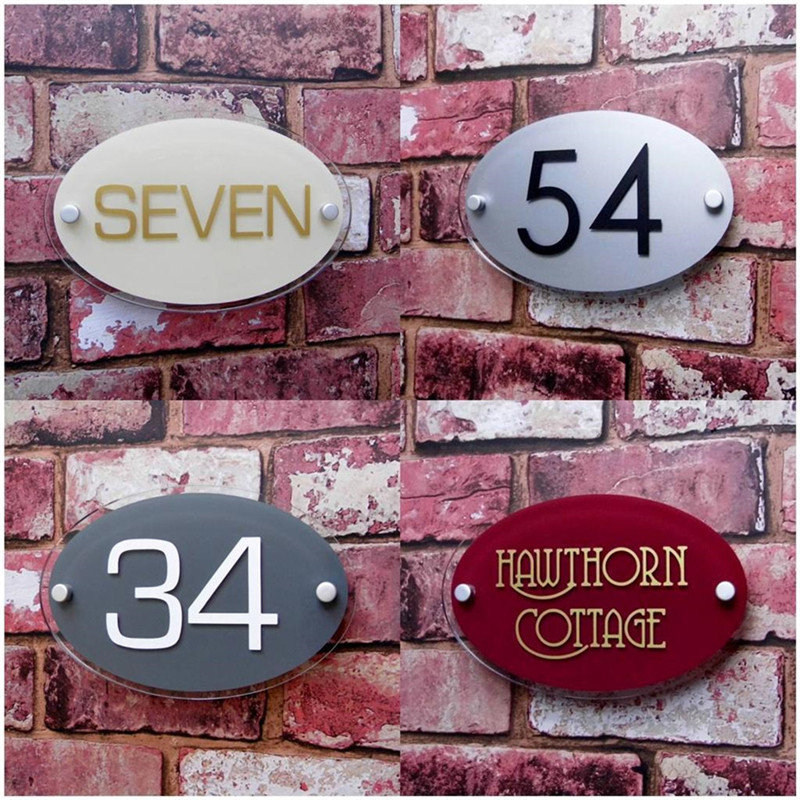 200*140mm Oval Customized Transparent Acrylic House Number Plaques Sign Plates House Signs Door Number Signs with Vinyl Films number 11