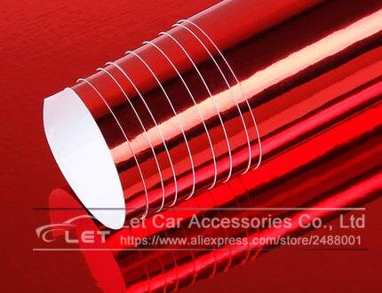 Автомобильный стиль, высокая растягивающаяся Водонепроницаемая УФ-защита, синий хром, зеркальная виниловая пленка, лист, рулонная пленка, автомобильная наклейка, наклейка, лист - Название цвета: Red