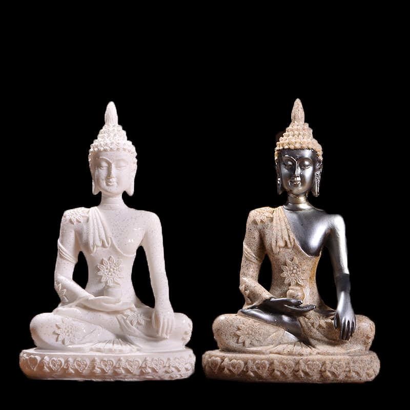 11 Style Nature Sandstone Miniature Buddha Statue Thailand Fengshui Figurine Hindu Meditation Sculpture Home Decoration