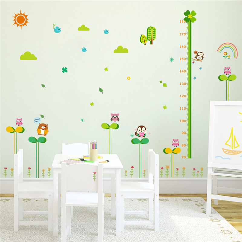 Nature Flower Plants Animals Height Measure Wall Stickers For Kids - Wall decals nature and plants