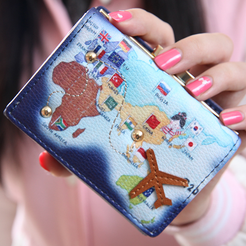 2017 New Arrival Fashion World Map Travel By Plane Candy Color Women Short Wallet With Coin Pocket Kawaii Women Leather Purse