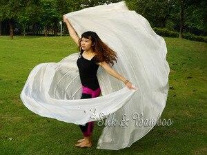 "Image 4 - 1 PIECE solid white 2.7m*1.14m(3 yard*45"")  6mm habotai real silk belly dance half circle veil."