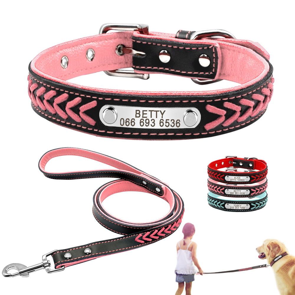 Leather Custom Dog Collar Personalized Engraved Dog Puppy Collar Leash Set with Nameplate ID Tag for Small Medium Large Dogs