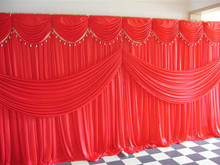 Fast Delivery Red Popular Custommade Color Wedding Backdrops with Swag 20ft w x 10ft h for