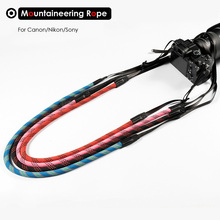 Hand-woven Nylon Mountaineering Rope Camera Shoulder Neck Strap 85cm to 185cm Belt for Canon Nikon Olympus Pentax Sony DSLR