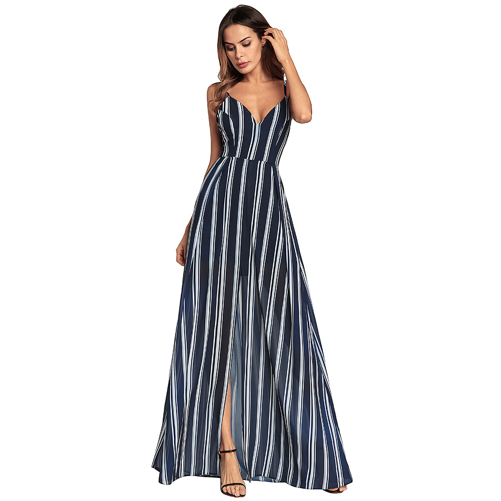 0d45ae41cfe3d Striped Maxi Dress Open Back Chiffon Spaghetti Beach Dress Split Sexy Women  Dresses Floor Length V-neck Party Club Clothes