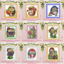 Hedgehog patterns counted Cross Stitch 11CT 14CT Cross Stitch Set Wholesale DIY animals Cross-stitch Kit Embroidery Needlework red rose on the table painting counted 11ct 14ct cross stitch wholesale diy cross stitch kit embroidery needlework home decor