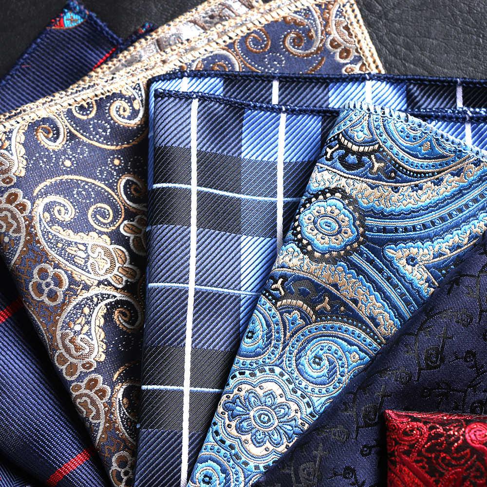 1 pièces hommes Paisley Vintage broderie mouchoir à pois rayé hommes Hankies affaires poche carré costume accessoires
