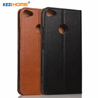 For Xiaomi Redmi Note 5A Case KEZiHOME Litchi Genuine Leather Flip Stand Leather Cover For Redmi
