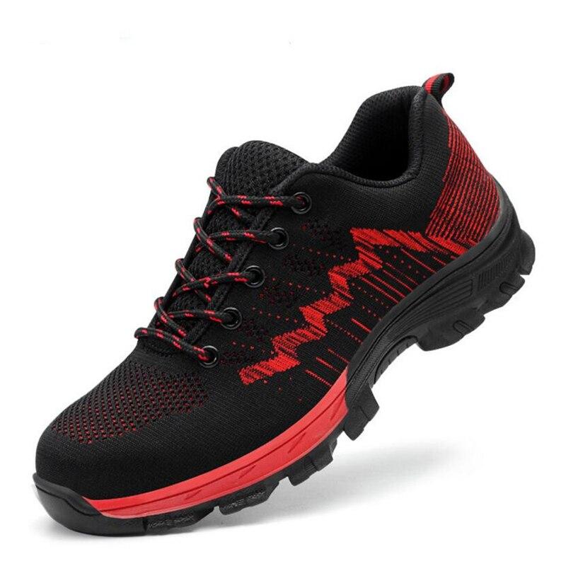 Рабочая защитная обувь для мужчин со стальным носком; Повседневные Дышащие уличные кроссовки; непромокаемые ботинки; удобные промышленные ботинки для мужчин - Цвет: Синий