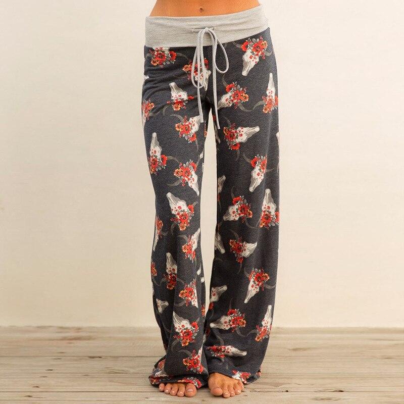Autumn Dark Gray Print Floral Pants Sleep Bottoms Women Lace Up Waist Drawstring Wide Legs Loose Plus Size Pajama Pants B86794