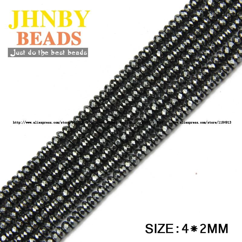 JHNBY AAA prirodni kamen crni hematit perle ravni okrugli faceted - Modni nakit - Foto 5