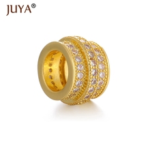 Supplies For Jewelry Wholesale 3 Color Diy Accessories Copper Metal Micro Pave CZ Big Hole Rhinestone Spacer Beads perlas