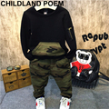 Fashion camouflage kids boys clothes set autumn toddler clothing 2pcs black t shirt+pants boy sports suit leisure clothes