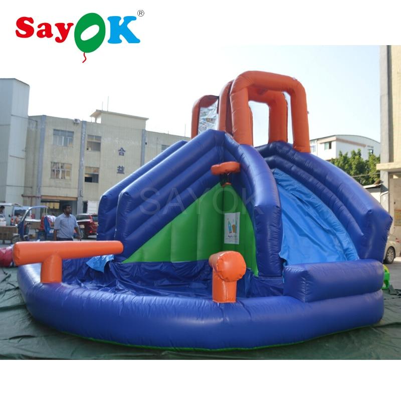 Giant inflatable water slide inflatable stair slide with slip, inflatable pool slide with basketball hoop