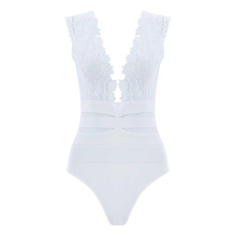 Beateen 2019 New Fashion solidny biały kwiecista koronka Up Hollow Out V Neck bez rękawów kobiety Sexy urocza klubowa, obcisła Lady body