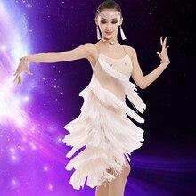 Dance-Dress Ballroom Latin Salsa Fringe Tassel Sequin Girls Children Kid for Professional