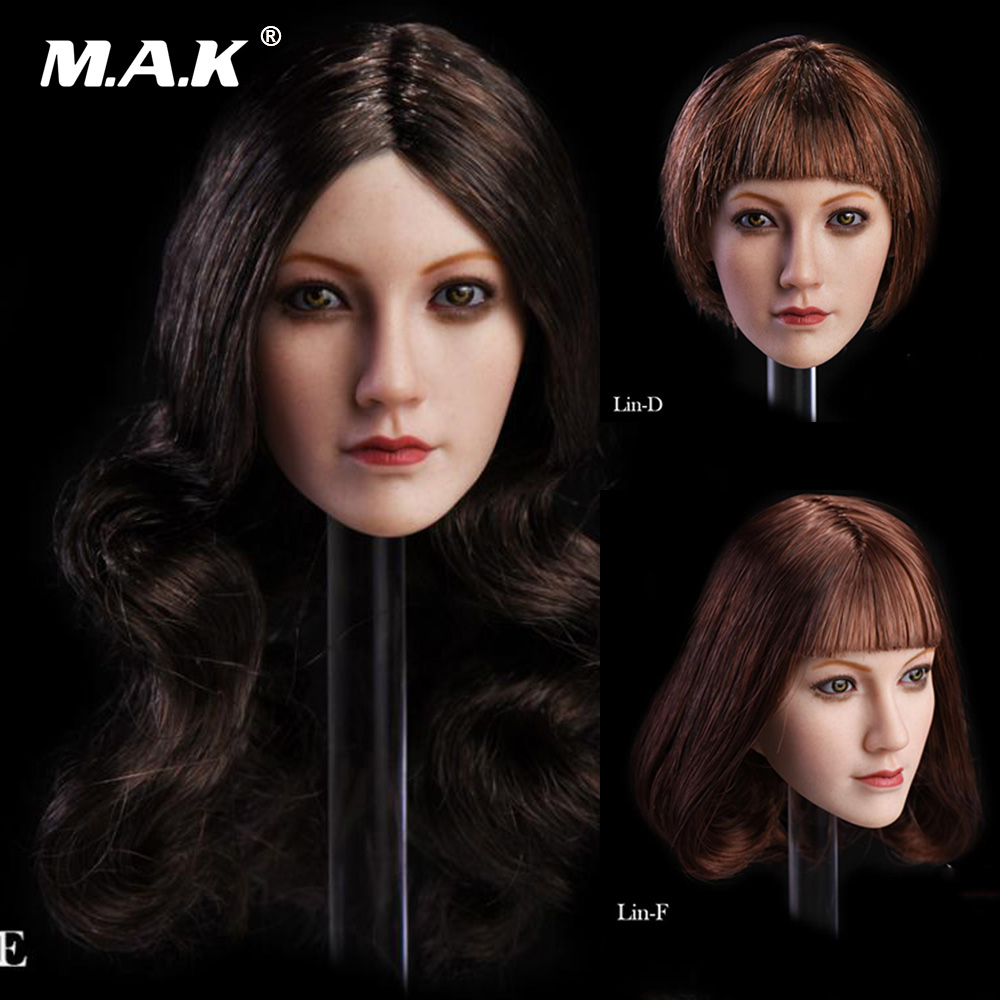 """1//6 Female Head Sculpt Brown Hair For 12/"""" PHICEN TBLeague Female Figure"""