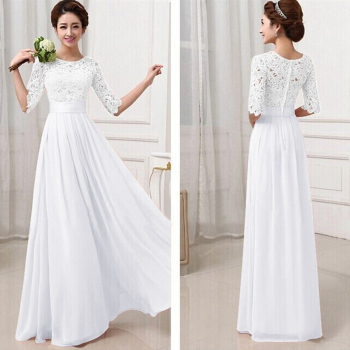 Elegant Lace Sleeve Chiffon Womens Long Formal Dress 4