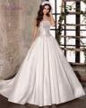 Loverxu Romântico Strapless Lace Up A Linha de Vestidos de Casamento 2016 Vintage Bow Caixilhos de Cetim Vestido De Noiva Robe De Casamento Plus Size tamanho