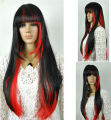 heat resistant Party hair >>>Fashion Black Red Mix Long Straight women Straight bangs Cosplay Wig with #HX226
