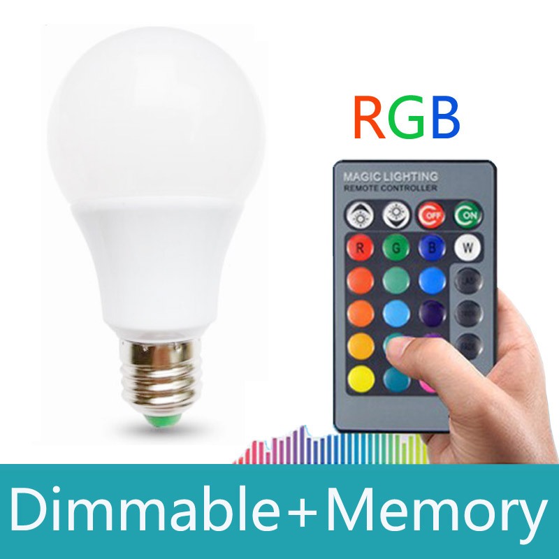 RGB led lamp E27 15W With Memory 16 colors Spot Led Light Bulb Dimmable Lampada led 110v 220v with Remote Controller