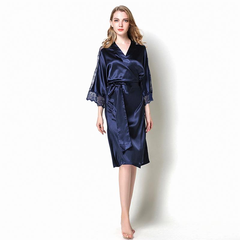 Femmes Robe doux Kimono Robes coton peignoir vêtements de nuit vêtements de détente genou longueur Satin Robe Floral peignoir de bain Lingerie de mariée