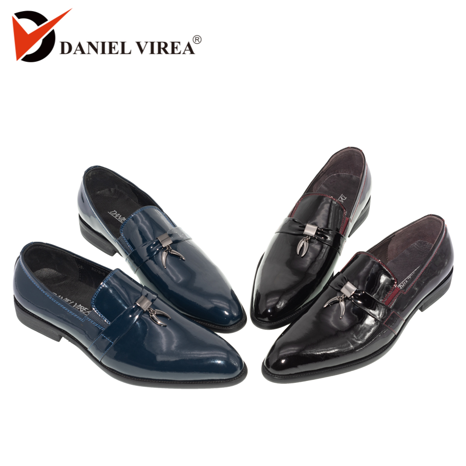 Men Casual Wedding Shoes Pointed Toe Slip On Fashion Formal Blue Red Patent Leather Tassel Banquet