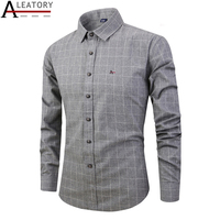 ALEATORY 2019 Top Quality New autumn spring men plaid roupas masculinas long sleeve 100% cotton dress shirt Striped aramy camisa