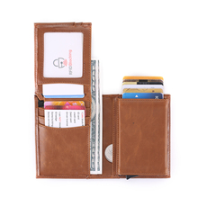 BYCOBECY New Vintage Credit Card Holder Crazy Horse Handmade Leather Men Wallets Multi-Functional Coin Purse Wallet For