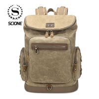 Scione Men Vintage Waterproof Travel Backpacks Crazy Horse Leather Large Capacity High Quality Laptop Shoulder Bags Schoolbags