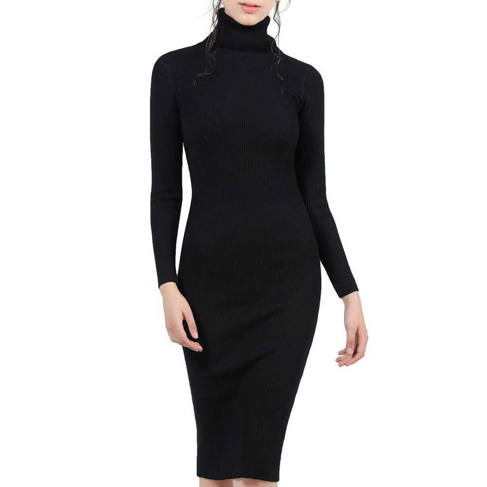 c59aedd740c95ba Для женщин Осень зимний свитер вязаные платья Тонкий эластичный Водолазка с  длинным рукавом Sexy Lady Bodycon