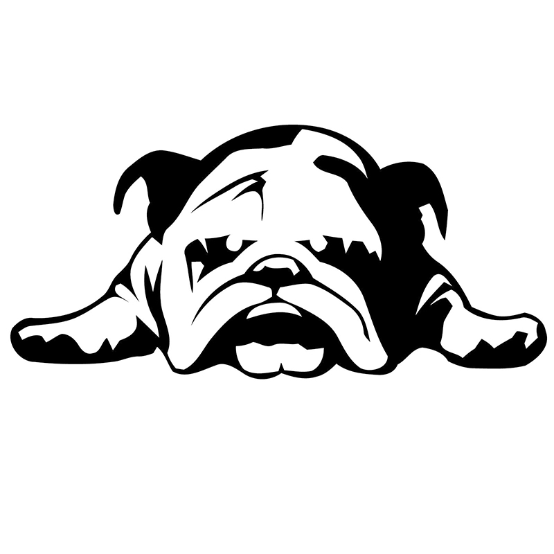 33 cm X 69.6 cm 2 x (one For Each Side) English Bulldog Tired Puppy Dog Sticker For Car Side Truck Window Door Wall Vinyl Decal
