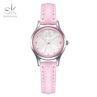 SK Fashion Casual Women S Bracelet Watches Pink Leather Watchband Strap Quartz Wristwatches For Female Ladies