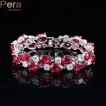 7 Opciones de Colores Redondos Y Ovalados Circonita Diamante Mujeres Rubí Rojo Grande B028 Pulseras Brazaletes Para La Joyería de La Boda Regalo