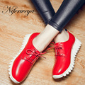 Moda Primavera/Outono mulheres sapatos Casuais tamanho grande 30-46 Plataforma Dedo Do Pé Redondo Lace-Up salto baixo sapatos zapatos mujer