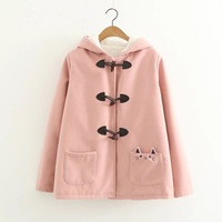 Autumn Winter New Horns Buckle Sweet Preppy Style Cute Pocket Cat Embroidered Long Sleeve Warm Hooded Woolen Jacket