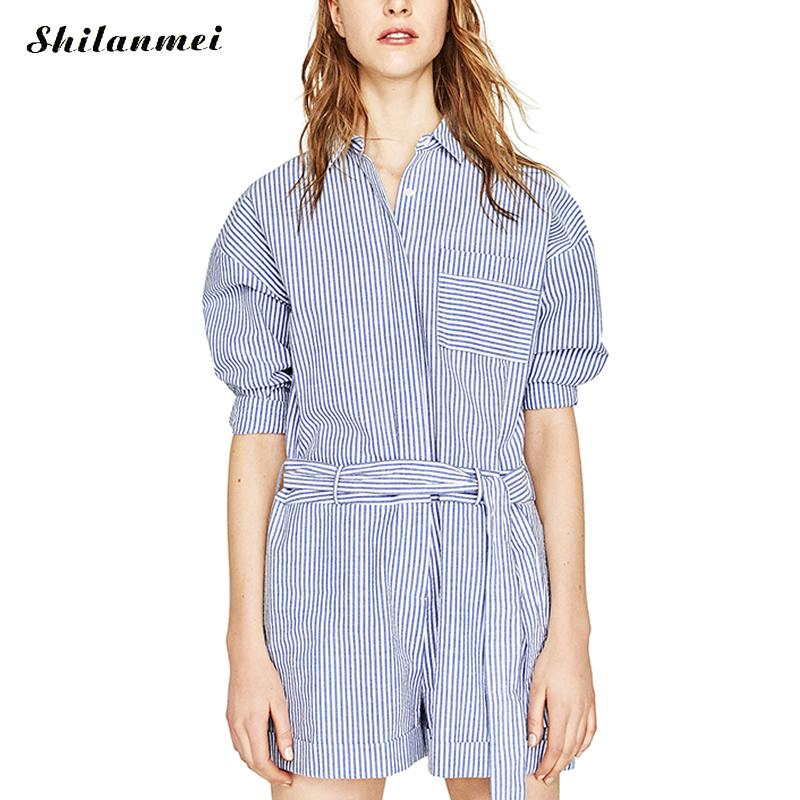 2017 Beach embroidered Rompers Women Jumpsuit Ladies Sexy Vertical Stripe Cutaway Rompers Combinaison Femme