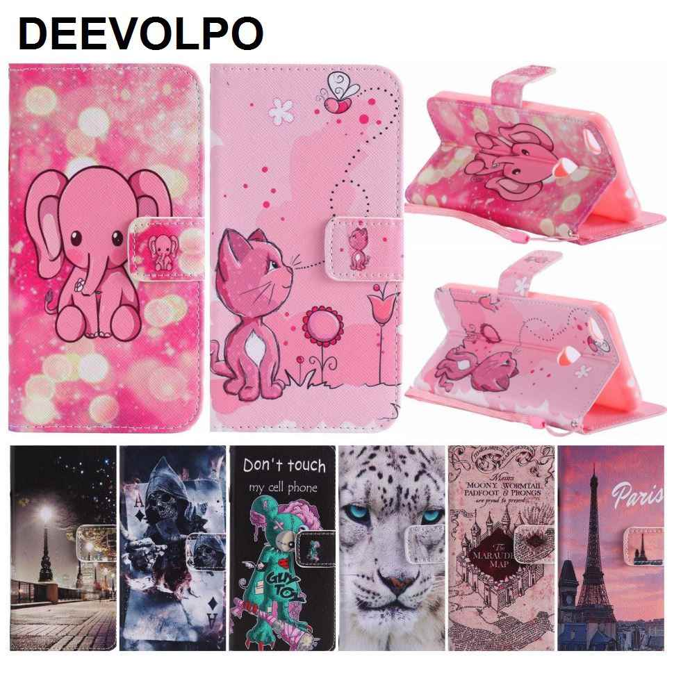 DEEVOLPO Card Slot Phone Covers PU Leather For Huawei Honor 8 Lite P8 Lite 2017 P10 Plus P9 Lite Mate 9 Cat Skull Pattern DP06G