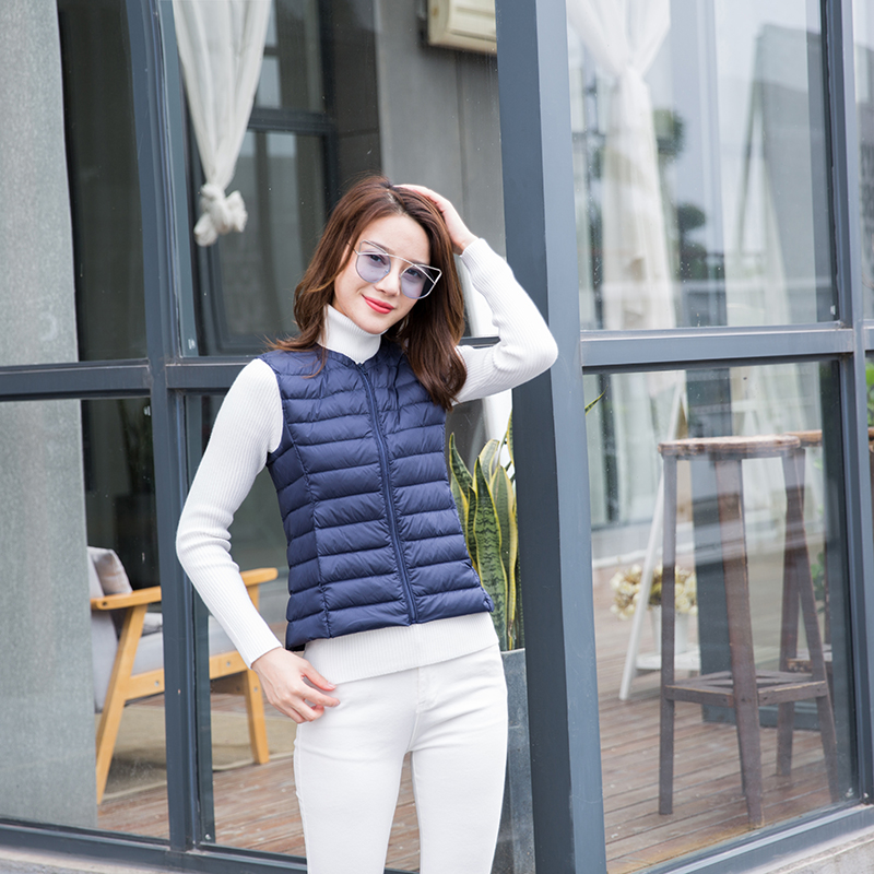 Women 90 White Duck Down Vest Women 39 s Ultra Light Duck Down Vest Jacket Autumn Winter Round Collar Sleeveless Slim Fit Coat in Down Coats from Women 39 s Clothing