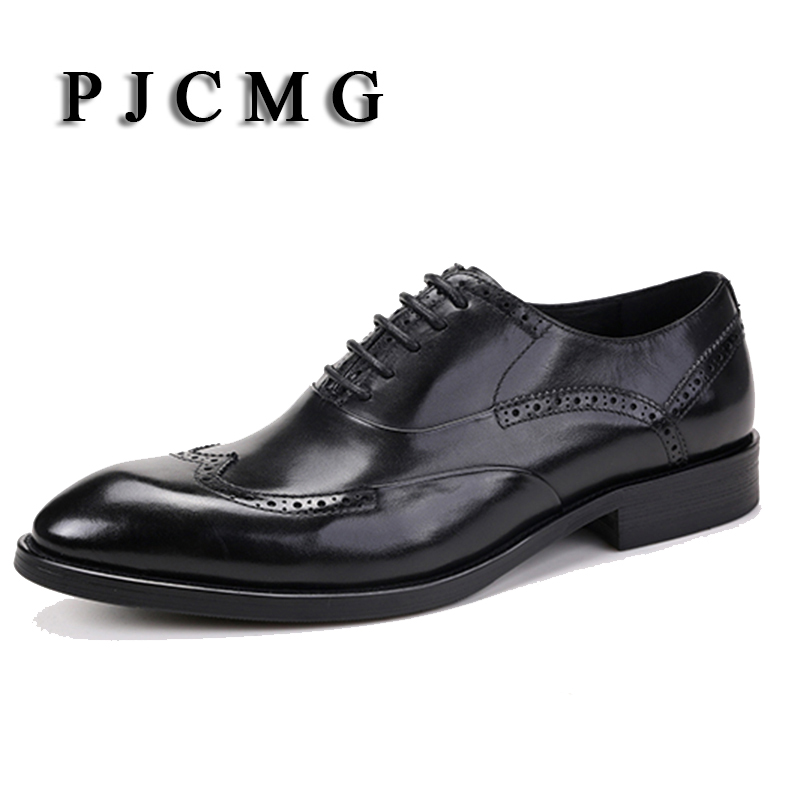 PJCMG Fashion High Quality Size37-44 Business Formal Lace-Up Pointed Toe  Genuine Leather Carved Flat Dress Wedding Man Shoes pjcmg fashion red black oxfords mens business lace up genuine leather pointed toe office dress formal mens wedding shoes