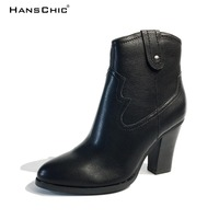 HANSCHIC 2017 New Arrival Dark Brown Retro Vintage Style Designer's Ladies Womens Casual Boots for Female NT031