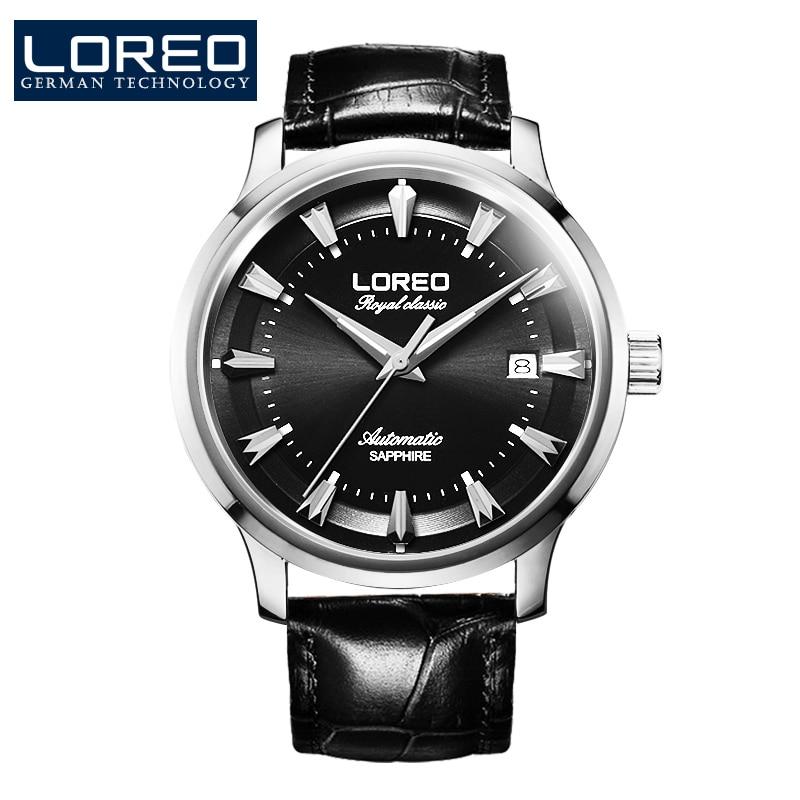 LOREO Germany watches men luxury brand royal classic automatic self-wind mechanical watch sapphire black Leather belt