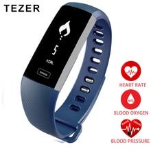 Tezer Топ спортивный смарт-браслет кислорода оксиметр артериального давления шагомер серый/черный/синий Saat монитор сердечного ритма удаленного