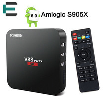 V88 V88 de mise à niveau Pro TV Boîte S905X Quad Core 4 K H.265 Android 6.0 IPTV Set Top Box KODI 16.1 2.4 GB WiFi DLNA Media Player