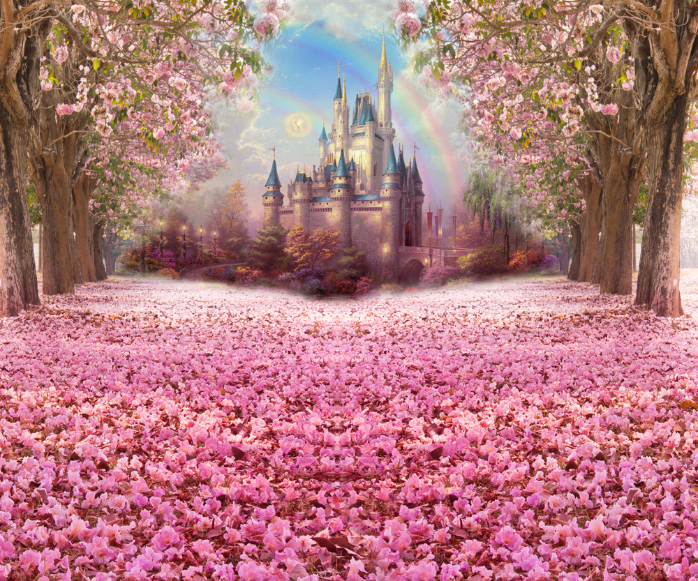 Photography Backdrop Fairy Tale Castle Beautiful Pink Woods Photo