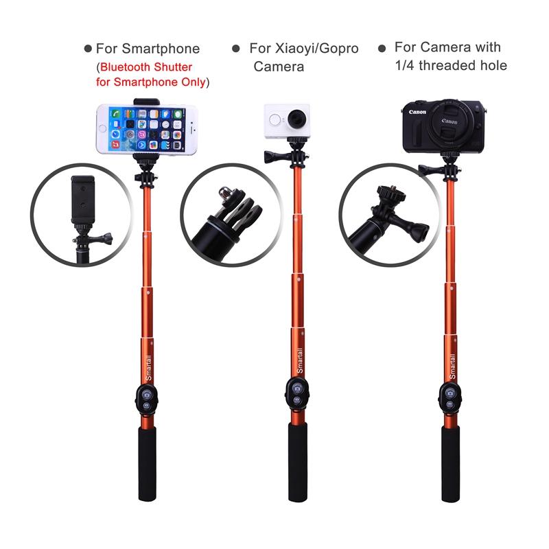 For Samsung C5 NOTE 7 Smartphones Extendable 39 Monopod Waterproof Gopro Selfie Stick+Wireless Bluetooth Remote Camera Shutter