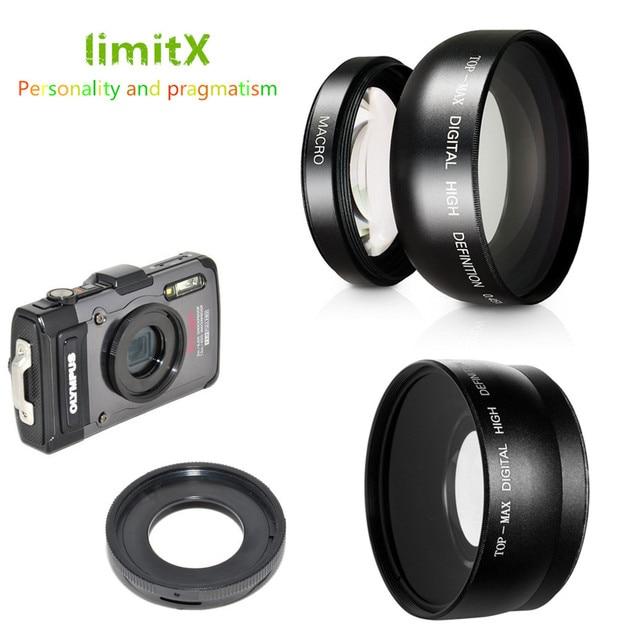 0.45X Siêu Góc Rộng Ống Kính Macro & Adapter Ring Cho Olympus TG 6 TG 5 TG 4 TG 3 TG 2 TG 1 TG6 TG5 TG4 TG3 TG2 TG1 Camera