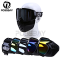 Vintage Motorcycle Helmet Open Face Mask Goggles Motocross Windproof off Road Cycling Glasses Modular Mask Detachable Goggles
